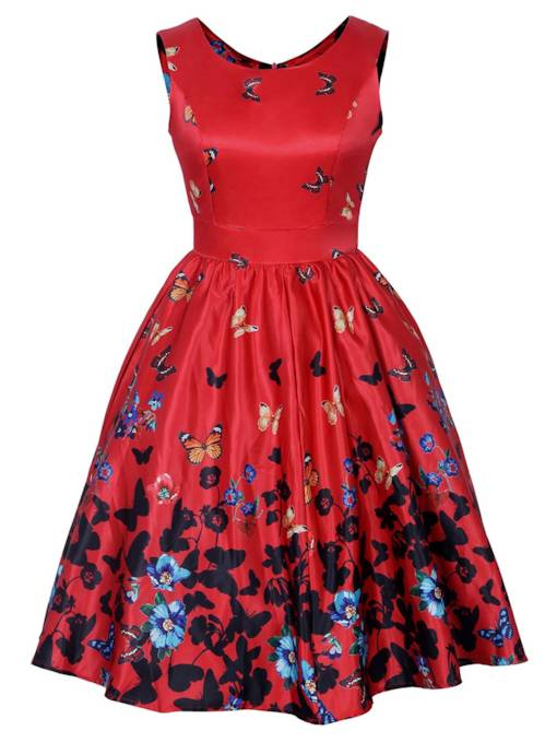 Red Butterfly Pattern Women's Day Dress