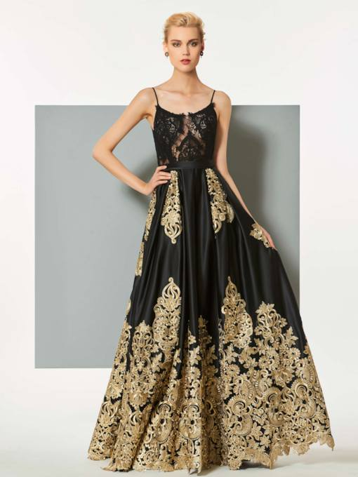 Spaghetti Straps Appliques Lace Evening Dress