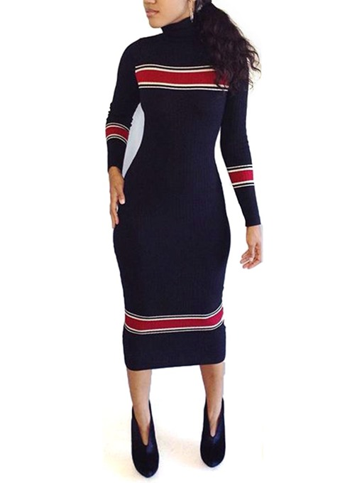 Turtle Neck Long Sleeve Women's Sweater Dress