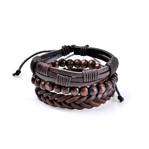 Wooden Beads Woven Black Rope African Bracelet