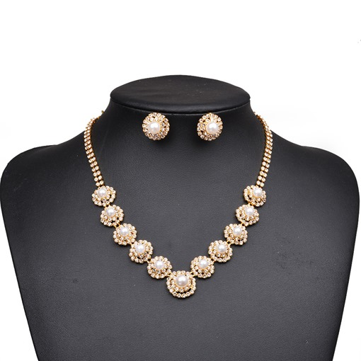Pearl Inlaid Diamante Box Chain Two Piece Jewelry Sets