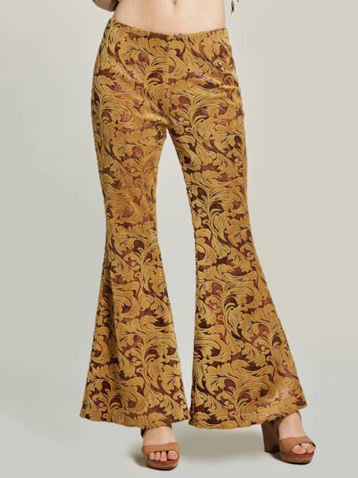 Slim Full Length Embroidery Women's Bellbottoms