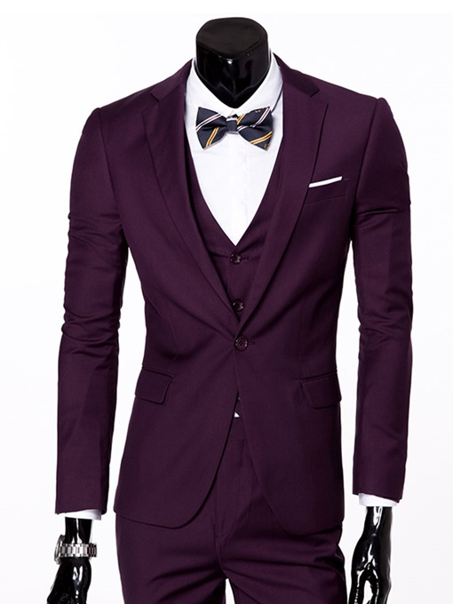 Three Piece Slim Fit Groom Business and Leisure Men's Suit