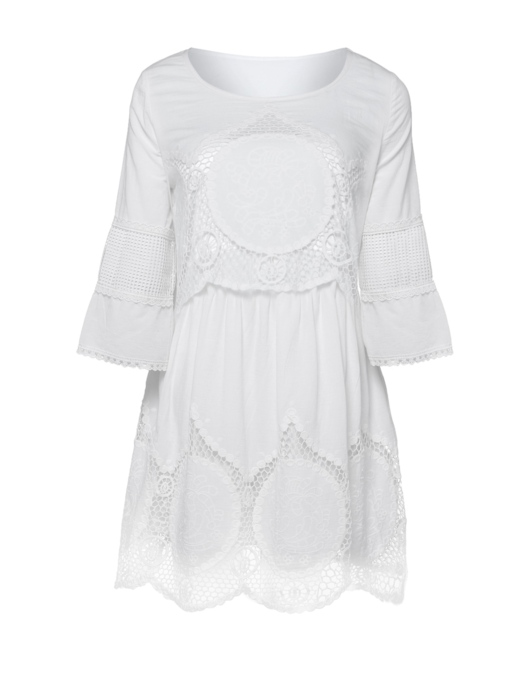 White Stright Half Sleeve Women's Day Dress
