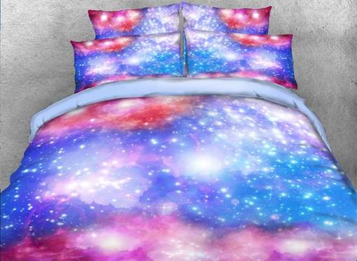 Dreamy Galaxy Printed Cotton 3D 4-Piece Bedding Sets/Duvet Covers