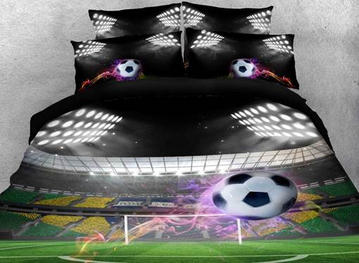 Flying Soccer Ball under Stadium Lights Printed Cotton 3D 4-Piece Bedding Sets/Duvet Covers