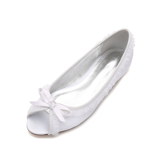 Peep Toe Slip-On Bow Wedding Dress Shoes