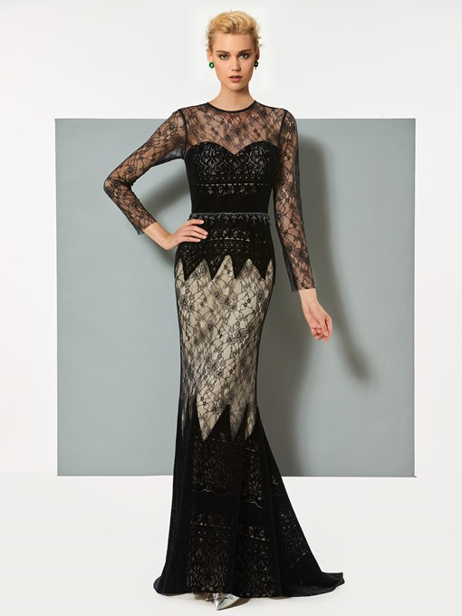 Jewel Mermaid Lace Brush Train Evening Dress