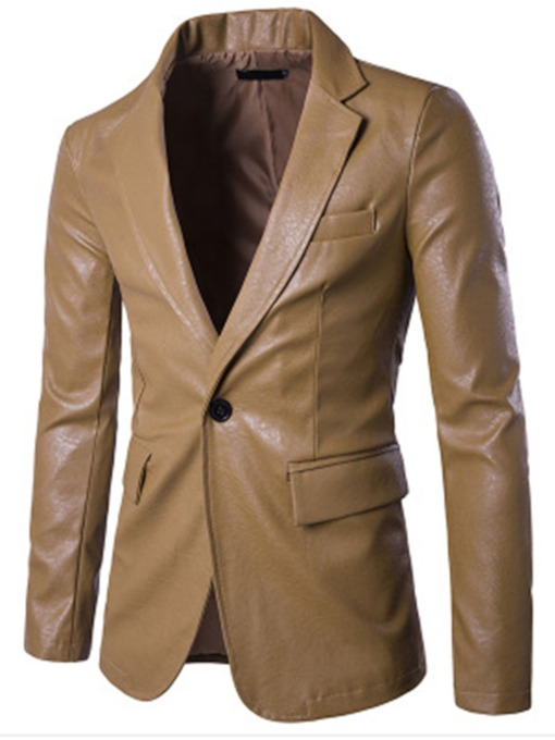 Notched Collar One Button Slim Men's PU Blazer