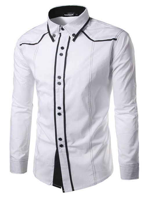 Lapel Closure Printed Multi Button Slim Men's Leisure Shirt