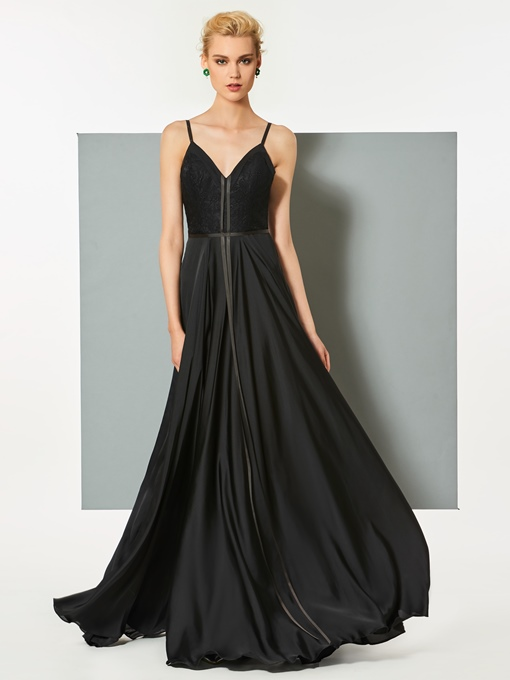 A-Line Spaghetti Straps Backless Floor-Length Evening Dress