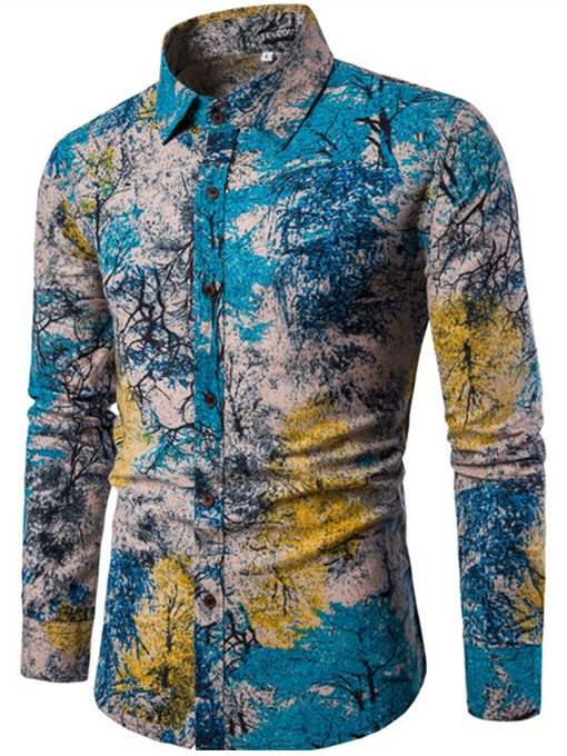 Lapel Linen Ethnic Floral Printed Slim Men's Long Sleeve Shirt