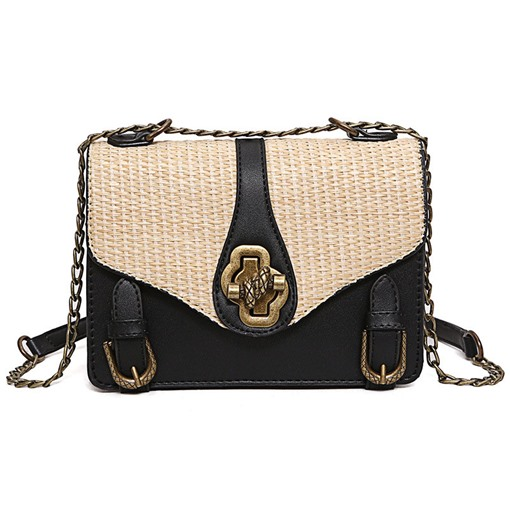 Concise Color Block Straw Chain Cross Body Bag