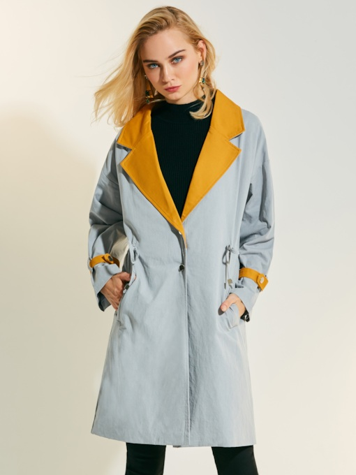 Notched Lapel Color Block Drawstring Women's Trench Coat