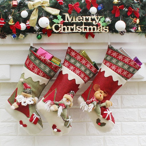 Cute Gift Box Christmas Tree Ornaments Elk Santa Claus Socks (Three Packs)