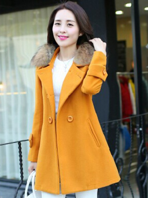 Slim Wool Blends Button Women's Overcoat