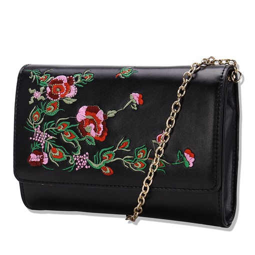 Retro Embroidery Chain PU Cross Body Bag