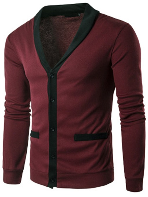 V-Neck Single-Breasted Plain Slim Men's Cardigan Sweater