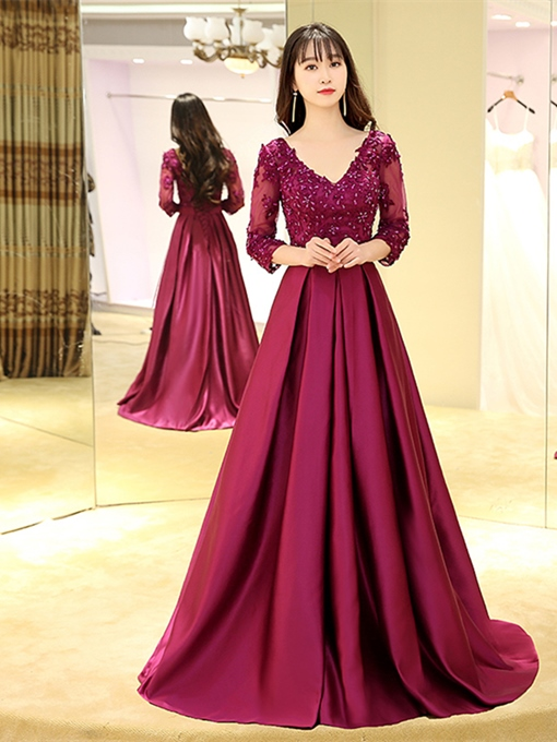 A-Line V-Neck Appliques Beading Sashes Court Train Evening Dress