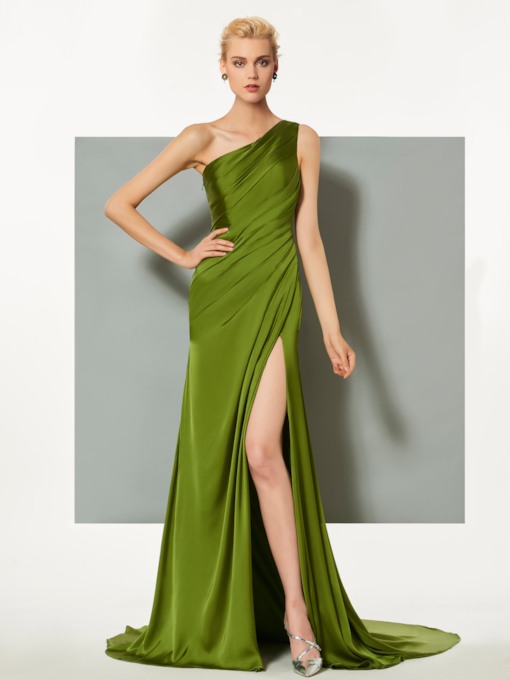 One Shoulder Split-Front Pleats Green Evening Dress 2019