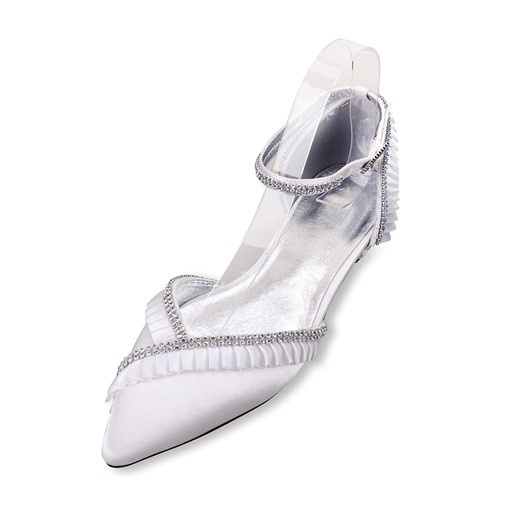 Low Heel Line-Style Buckle Rhinestone Bridal Shoes For Wedding