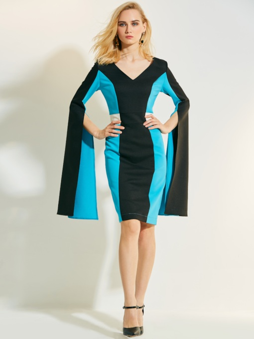 Long Sleeve Color Block Women's Sheath Dress