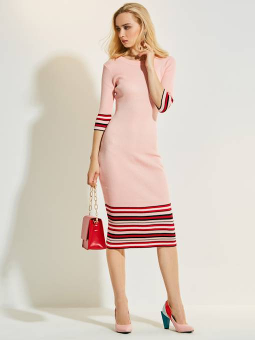 Mid-Calf Mid-Waist Stripe Women's Sweater Dress