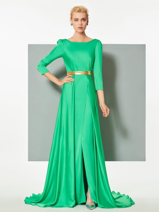 A-Line Bateau Sashes 3/4 Length Sleeves Court Train Evening Dress