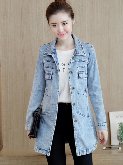 Mid Length Single-Breasted Denim Women's Jacket