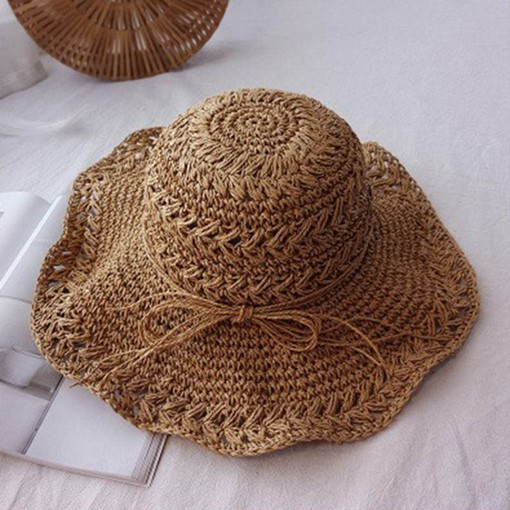 Bowknot Straw All Match Summer Sun Hats 43041f265704
