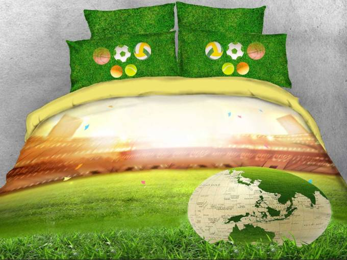 World Map Soccer on the Green Field 3D Printed 4-Piece Bedding Sets/Duvet Covers