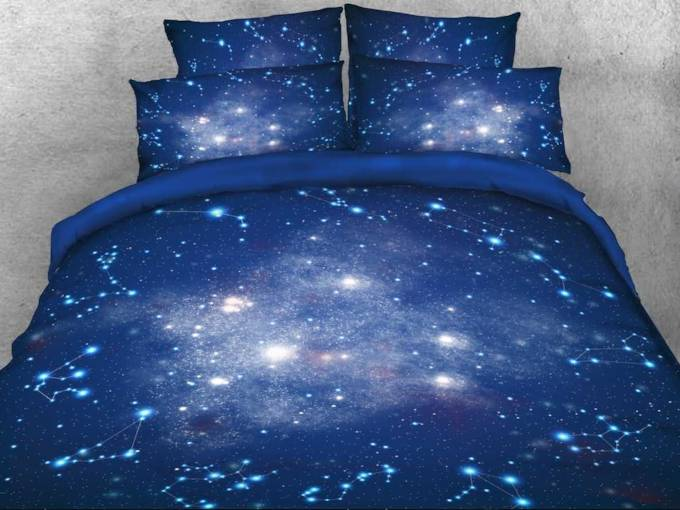 Spiral Starry Galaxy Duvet Cover Set 4 Piece Bedding Set