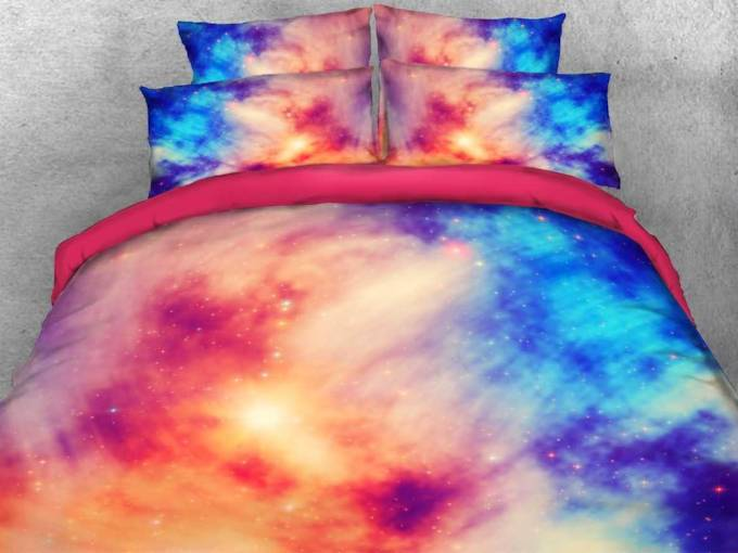pink blue contrast galaxy printed cotton 3d 4-teilige Bettwäsche-Sets / Bettbezüge