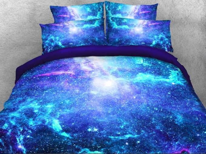 Space Galaxy Printed Cotton 4-Piece Fluorescent 3D Blue Bedding Sets/Duvet Covers