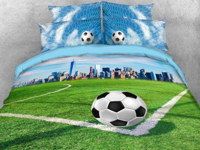 Soccer Field and City Scenery Printed 3D 4-Piece Bedding Sets/Duvet Covers