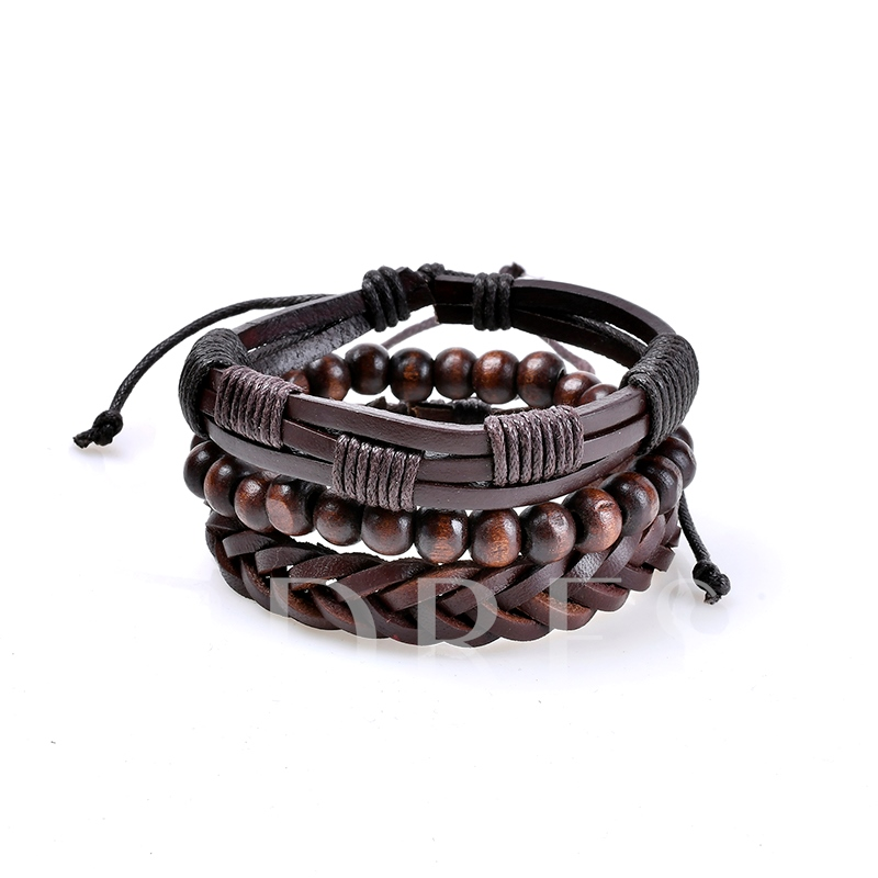 Image of Wooden Beads Woven Black Rope African Bracelet