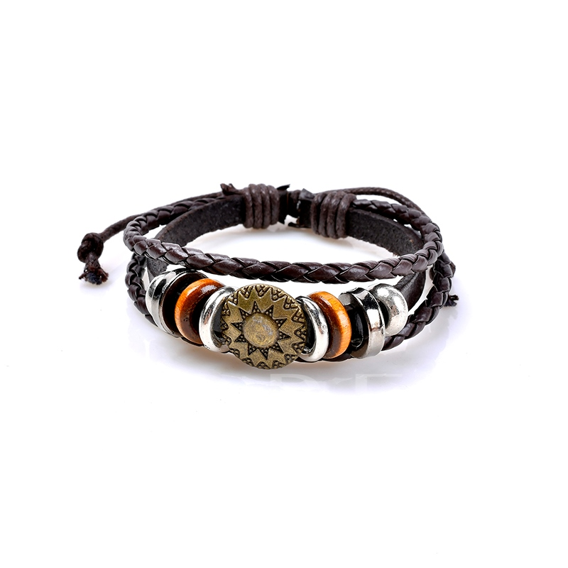 Image of Brown Woven Alloy Round Vintage African Bracelet