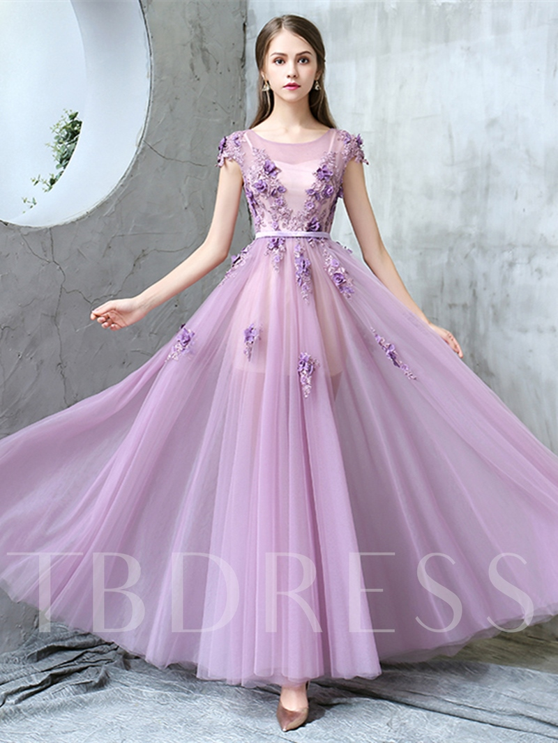 Image of A-Line Appliques Sashes Flowers Prom Dress