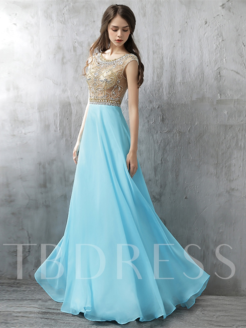 Image of A-Line Scoop Cap Sleeves Beading Rhinestone Prom Dress