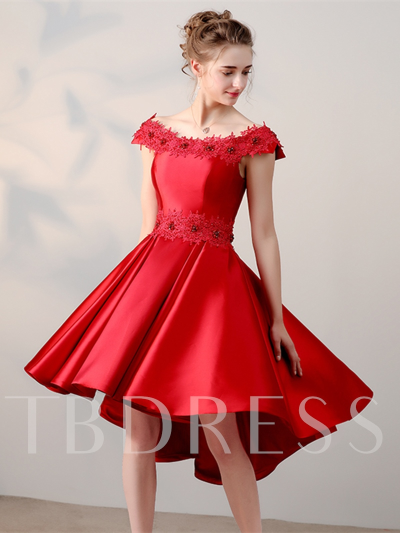 Image of A-Line Appliques Beading Asymmetry Homecoming Dress