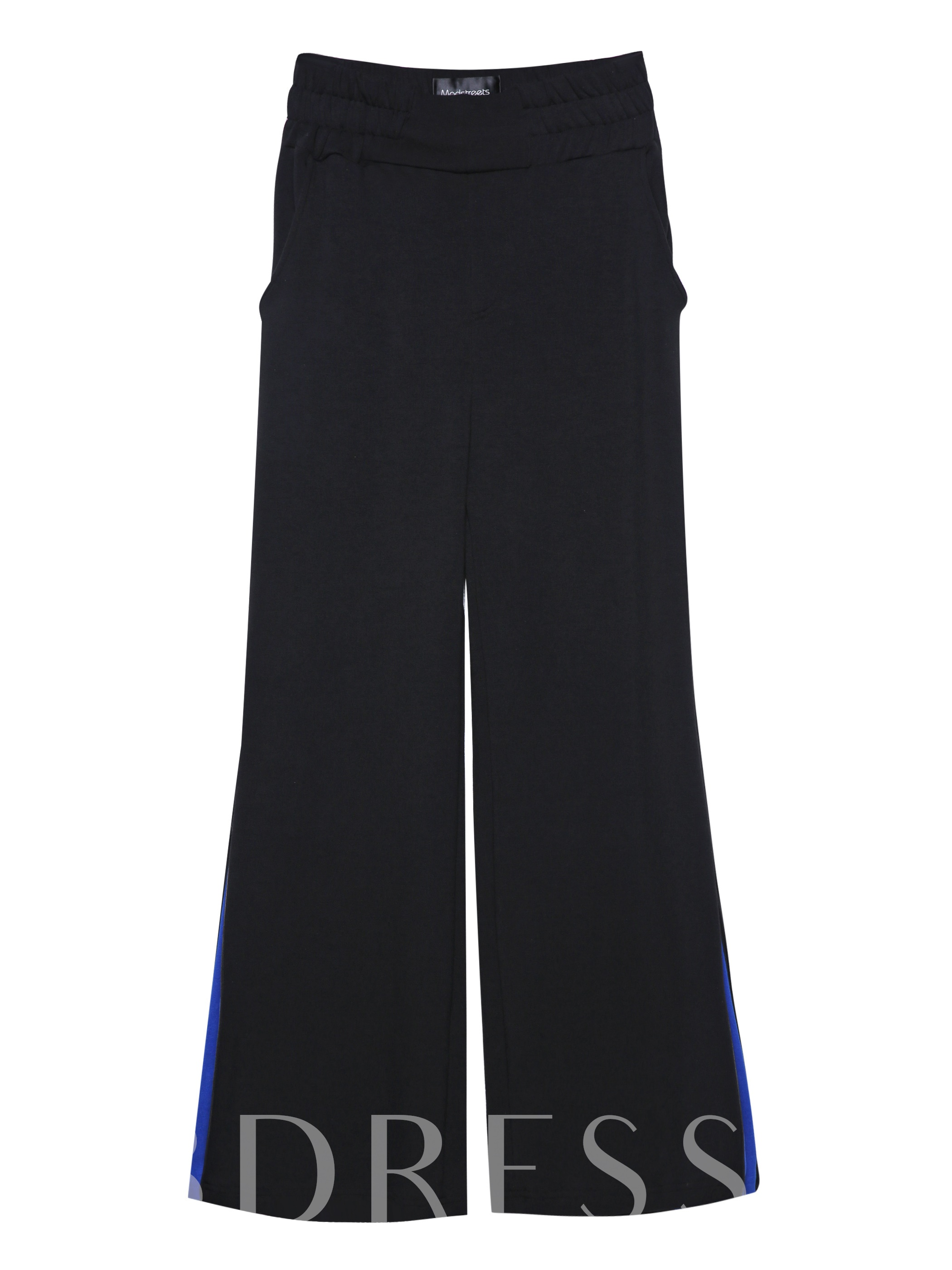 Color Block Wide Legs Full Length Women's Trousers, 12931312