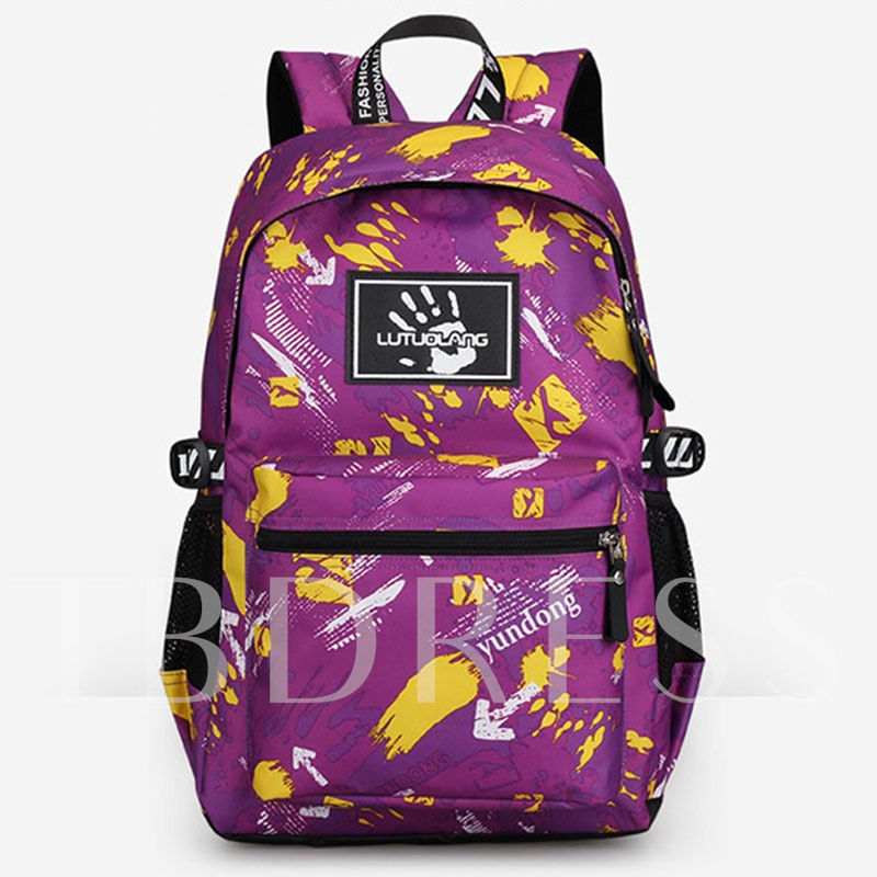 Large-Capacity Printing Zipper Sports Backpack