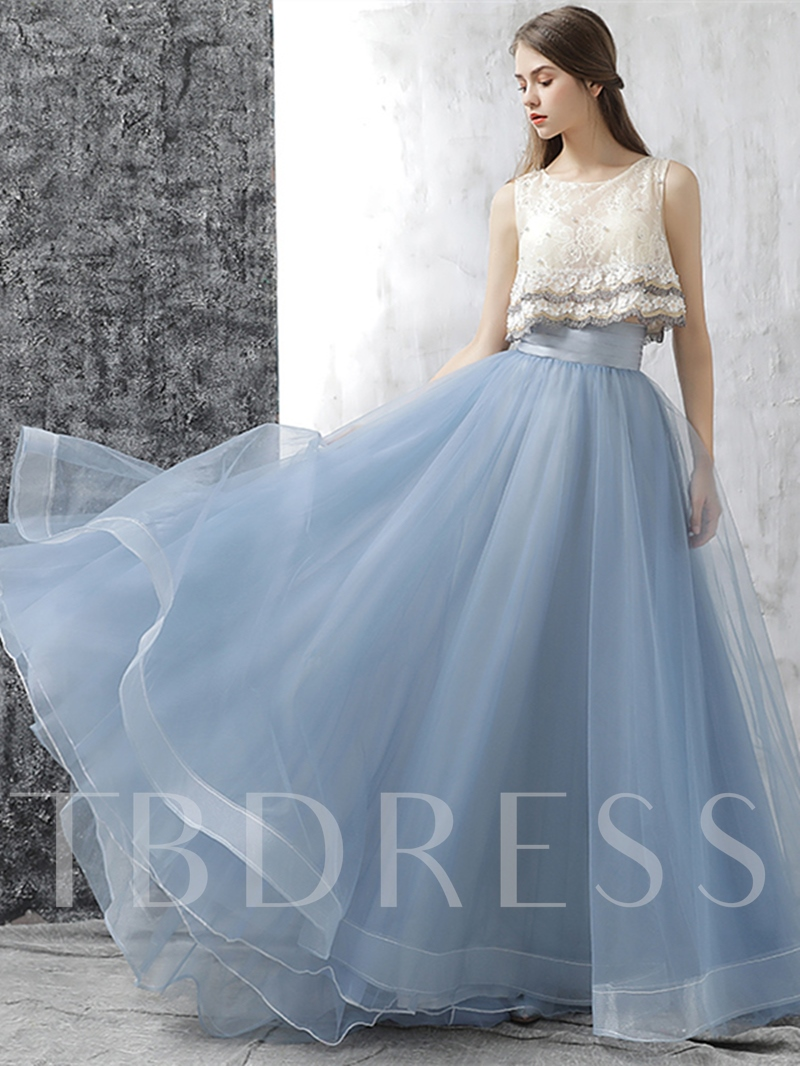 Flowers Lace Pearls Pleats Scoop Prom Dress