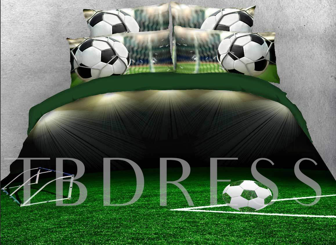 3D Soccer Ball on the Green Field Printed 4-Piece Bedding Sets