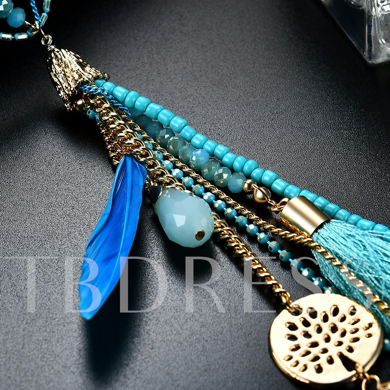 Blue Feather Tassel Beads Thin Chain Necklace