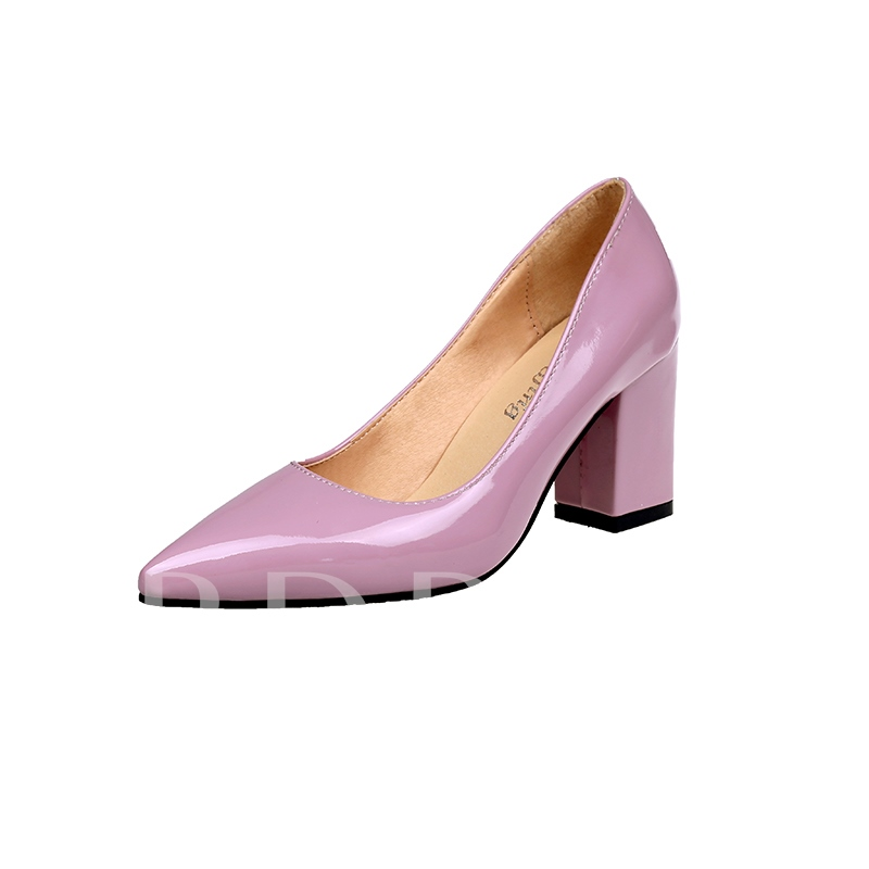 Thread Pointed Toe Chunky Heel Slip-On Comfy Women's Pumps