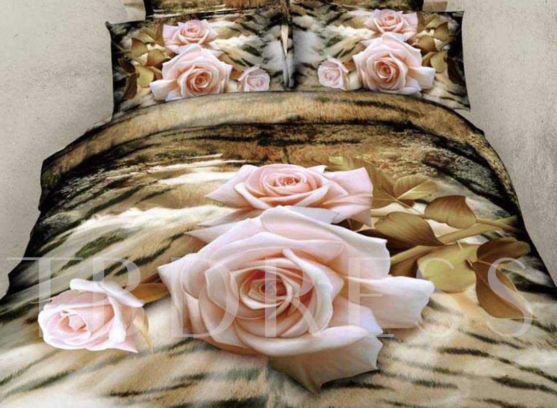 3D Light Pink Rose and Animal Print Design Cotton 4-Piece Bedding Sets