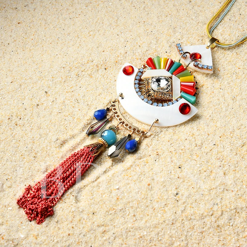 Fan Colorful Alloy Tassel Rhinestone Necklace