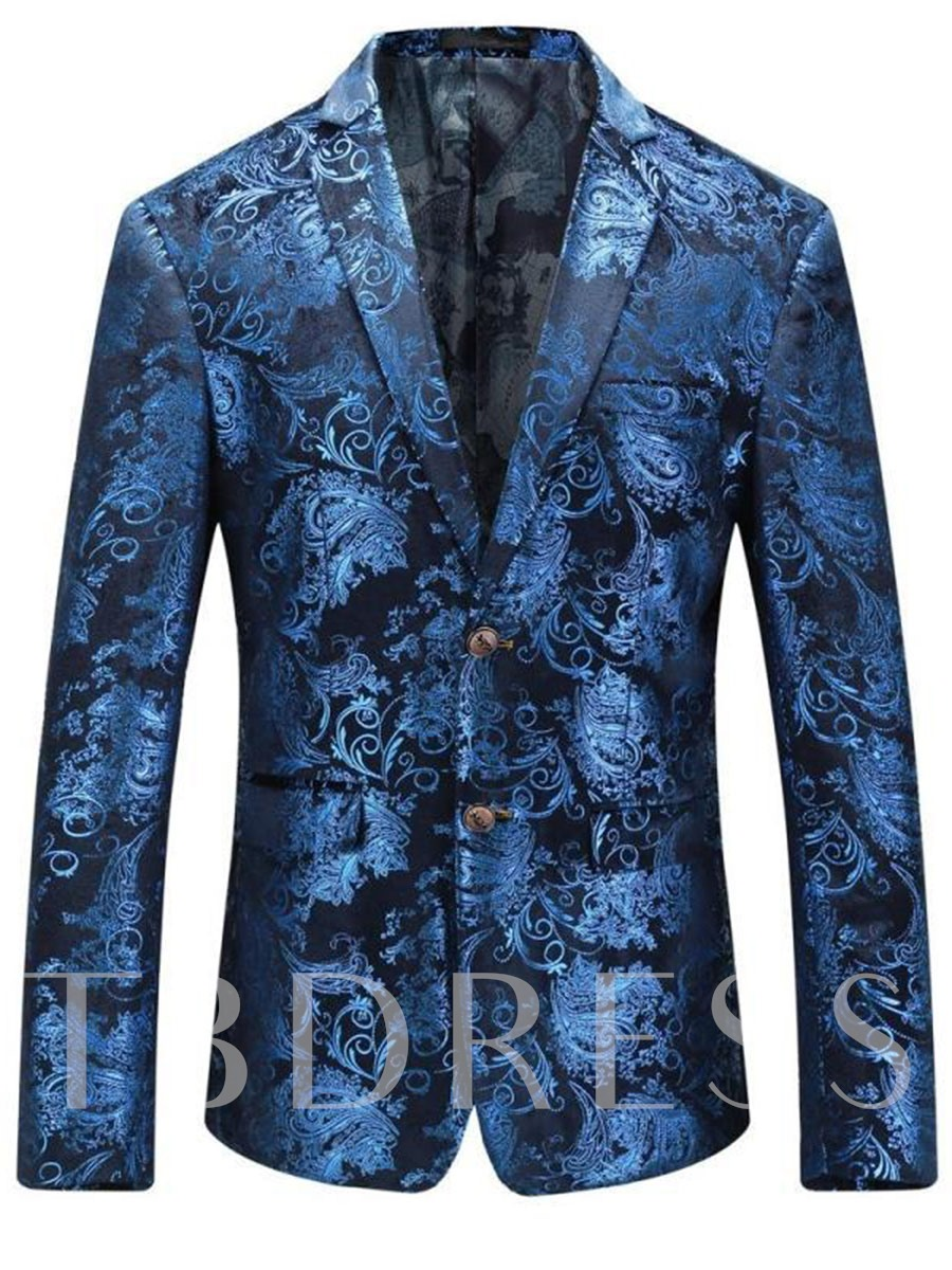 Buy Notched Collar Double Button Classic Printed Slim Men's Leisure Blazer, Fall,Winter, 12918770 for $69.99 in TBDress store