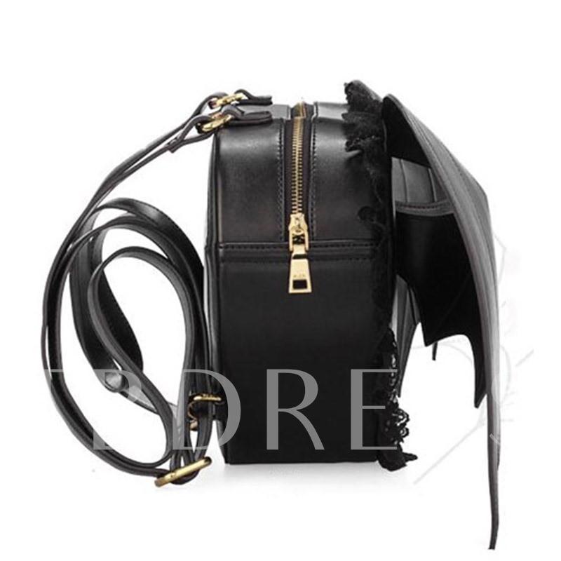 Special Pure Black Angle Wing with Lace Women's Fashion Backpack